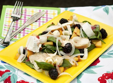 Chicken Spinach Salad with Blackberries, Nectarines and NJ Goat Cheese, drizzled with Raspberry Vinaigrette .