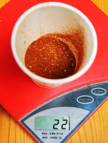 22 grams of medium-fine ground coffee measured out to make ice coffee using the Japanese Method at OQ Coffee in Highland Park.