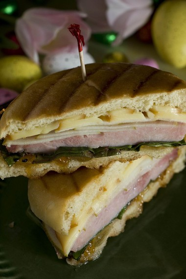 Ham panini with smoked gruyere and pear.