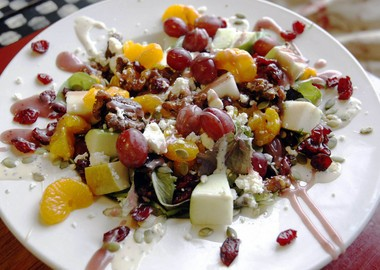 Cauldren Salad with apples, pears, grapes, oranges and more at the My Kitchen Witch Cafe in Monmouth Beach.