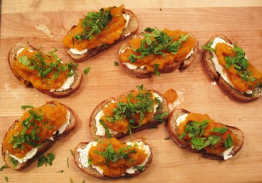Roasted squash toasts with ricotta and cider vinegar were made by students Wendy Walker of Annandale and Ali Cabrera of East Stroudsburg, PA at a holiday appetizer class at Food Fix Kitchen in Lebanon Twp.