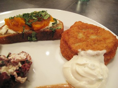 Roasted squash toast and potato pancakes with herbed cream made at a holiday appetizer class with Chef Rachel Reuben at her studio Food Fix Kitchen in Lebanon Township.