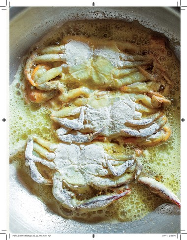 """Panfried Softshell Crabs, Jersey Shore Style from """"Prune"""" by Gabrielle Hamilton."""