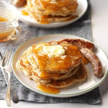 Homemade cider syrup adds a special flavor to these apple pancakes for a special weekend brunch.