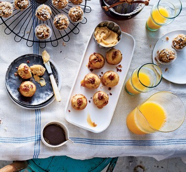 Your favorite stud muffin will appreciate these bacon-caramel scuffins with caramel clotted cream. A scuffin is part scone, part muffin, according to cookbook author Valerie Bertinelli. (Hector Manuel Sanchez)