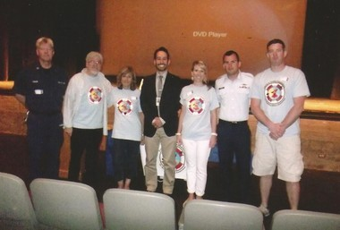 From left, John Ziegler, Coast Guard Auxiliary, Rich and Joan Civile, Rui Dionisio, Principal, Laura Civile Davies, Adrian Taberna, Coast Guard and Jon Davies.