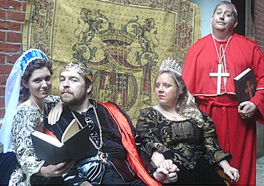 A dysfunctional family portrait of King Henry VIII (Bradley Sumner, center), his firs wife, dutiful Katherine (Noelle Fair, right), his second wife, opportunistic Anne Boelyn (Emily Ludolph, left) and Henry's surrogate father figure, scheming Cardinal Wolsey (David C. Neal) in Hudson Shakespeare Company's production of 'Henry VIII.'