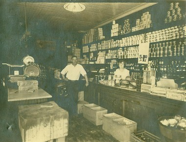Inside of Pollackâs Food market shows how it was when Gene was growing up. Note the loose eggs in a crate in front of counter. Pictured are Morris Pollack and his daughter, Selma. (1930) (Photo courtesy of Martin Abramson)