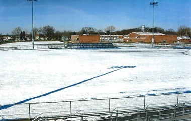 The former site of Jackson Pond viewed from Brearley H.S. bleachers. Snow covered areas represent most of former pond location. (Photo by Walter Boright)