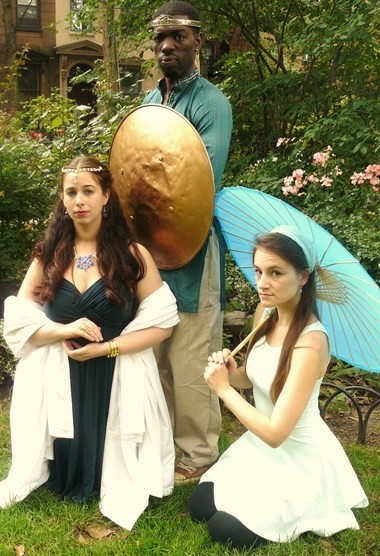 King Pericles of Tyre (Lawrence James) goes on a road trip through far flung Mediterranean locales to reunite with his wife Thaisa (Lisa LaGrande, left) and Marina (Morgan Patton) in Hudson Shakepseare Company's production of 'Pericles.'