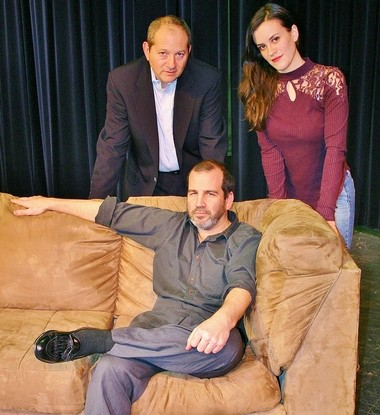 David Mamet's 'Speed The Plow' is opening at the CDC Theatre in Cranford on Feb. 6. Pictured are cast members Mike Burdick (seated), Jonathan Fishman and Kate Baldwin. (courtesy photo)