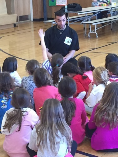 Girl Scout Daisy Troop 40222 of Brookside Place School in Cranford, welcomed Sensei Mario Cesario - owner and chief instructor at Cesar-Kai Academy in Cranford - to discuss anti-bullying and self defense. (courtesy photo)