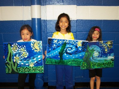 Mrs. DeMaio's second grade class and Mrs. Reyes' first grade class from St. Theresa School in Kenilworth had an afternoon of art lessons. Children learned all about Vincent van Gogh and painted a 'Starry Night' picture. (courtesy photo)