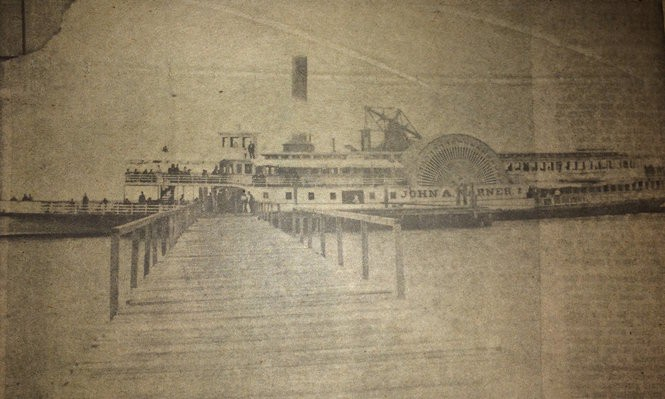 This Bridgeton Evening News photo shows the John A. Warner, the steamboat that used to make daily trips between Philadelphia and Seabreeze, in the 19th century. (Photo courtesy of the Lummis Library)