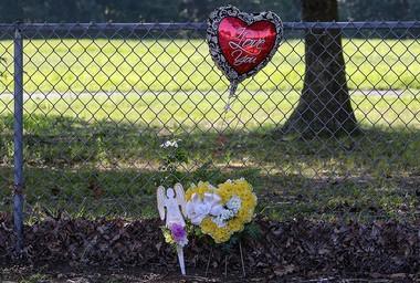 A small memorial sits near the scene where Joseph L. Jones was murdered outside Lakeside Middle School in Millville. (Al Amrhein | For NJ Advance Media)