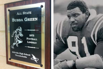 Left: A plaque honoring 'Bubba' Green hangs on the wall of fame at Millville Senior High School. Right: 'Bubba' Green on the state champion 1975 Millville High School varsity football team.