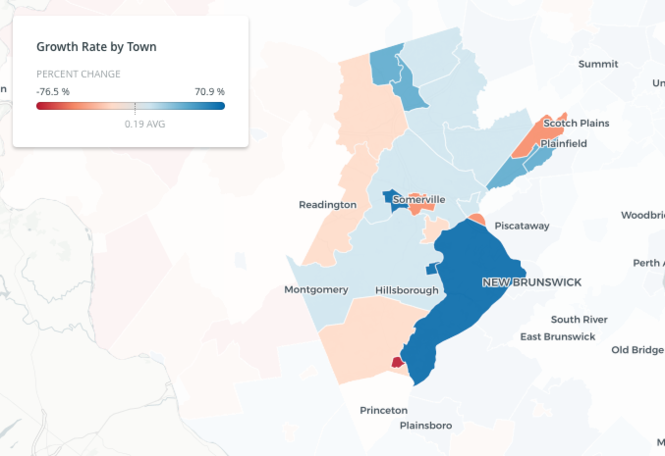 How the population is changing in each of N J 's 21 counties