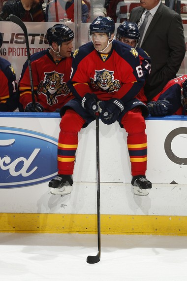 Florida Panthers winger Jaromir Jagr will face the Devils Saturday night. (Joel Auerbach/Getty Images)