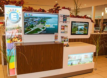 A 42-inch video monitor at the kiosk continuously displays a compilation of short videos made by EDMO that highlight Elizabeth's historic past, dynamic present and exciting future.