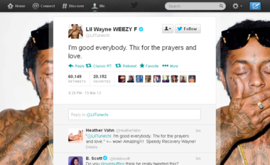 A screen grab from the verified Twitter page of rap star Lil Wayne shows this message to his fans.