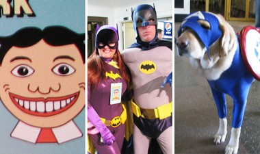 From left: The durable Asbury Park icon Tillie; Batgirl and Batman, 1966 style; doggie Captain America.