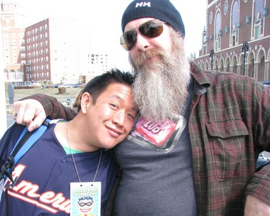 """Ming Chen and Bryan Johnson, stars of AMC's reality show """"Comic Book Men,"""" outside the Wonder Bar in Asbury Park."""