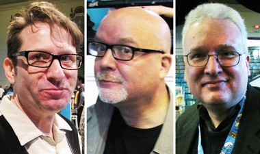 "From left: writer-artist Evan Dorkin (""Milk and Cheese""); cartoonist John Holmstrom (Punk magazine) and editor Jim Salicrup (Papercutz)."