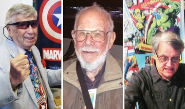 """From left: artists Allen Bellman (Captain America), Al Jaffee (Mad magazine's """"Fold-In"""") and Herb Trimpe (founding Wolverine artist)."""