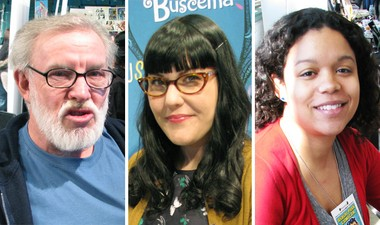 """From left: artist Jay Lynch (""""Wacky Packages""""), artist Stephanie Buscema (""""My Little Pony"""") and writer-artist Whit Taylor (""""Madtown High"""")."""