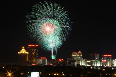 A file photo of fireworks at the Atlantic City boardwalk and marina.