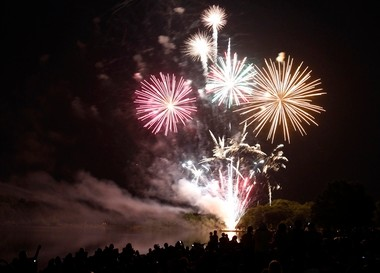 A file photo of a fireworks display in Thompson Park in Monroe.