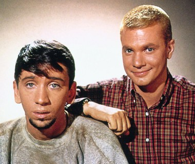 "Bob Denver as a jazz-loving beatnik and Dwayne Hickman as a lovesick teen in ""The Many Loves of Dobie Gillis."""