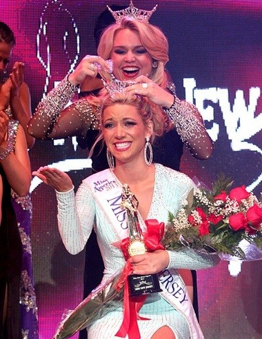 Outgoing Miss New Jersey Lindsey Petrosh crowned Cara McCollum last month at Ocean City's Music Pier.