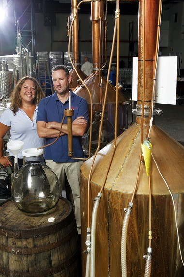 Krista Haley and Brant Braue, owners of Jersey Artisan Distilling.