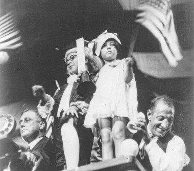 Baby Peggy was the mascot of the 1924 Democratic National Convention in New York. At left is future president Franklin Delano Roosevelt, then the governor of New York.