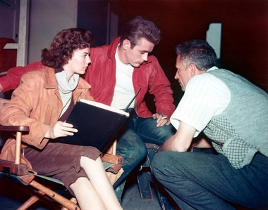 Natalie Wood, Dean and Nicholas Ray confer on the set of 'Rebel Without a Cause'