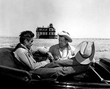 Dean on the Texas location of 'Giant,' with director George Stevens