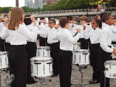 A file photo of Drums of Thunder percussionists from the Hillside Elementary School in Montclair, who will perform on the concert stage.