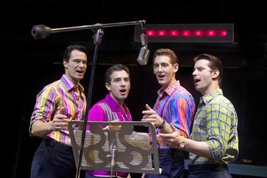 "Matt Bogart, Jarrod Spector, Ryan Jesse and Dominci Nolfi of the ""Jersey Boys"" musical."