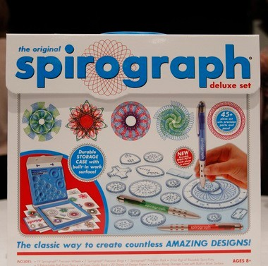 Spirograph Deluxe Design Set by Kahootz, part of the trends talk at the 111th American International Toy Fair New York, though Spirograph was first introduced decades ago.