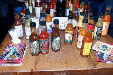 Some of the hot sauces sampled during the Screaming Mi Mis.