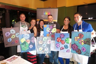 Date night customers at a Bottle and Bottega paint party. Rupa Kale brought the Chicago franchise to New Jersey.