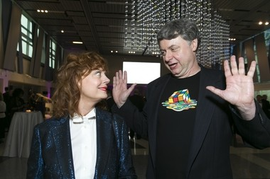 Paul Hoffman greeted Susan Sarandon at Liberty Science Center's Genius Gala fundraiser earlier this month. LSC trustees credit Hoffman with drawing some big names to the space.
