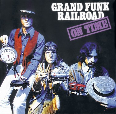 """Farner (center) with former bandmates Don Brewer and Mel Schacher on the cover of Grand Funk's debut album, """"On Time"""" (1969)."""