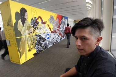 Street artist and Newark resident, known as Lunar New Year, has created work all over the world and is now pairing up with local advocacy groups to raise funds for the arts. Currently he has a large double sided mural on display on the pedestrian bridge located over McCarter Highway connecting Gateway Buildings 1 and 2.