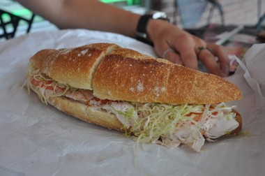 A sub from A&G Fine Foods in Fords ready for sampling.