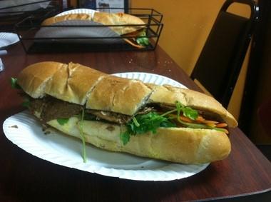 The lemongrass beef banh mi at Baguette Delite in Edison.