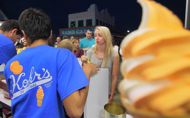 Alexandra Kozyra awaits her ice cream at Kohr's in Seaside Heights.
