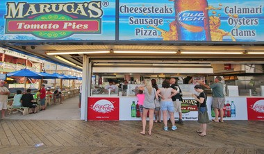 The Munch crew prepares to eat at Maruca's Tomato Pies in Seaside Heights.
