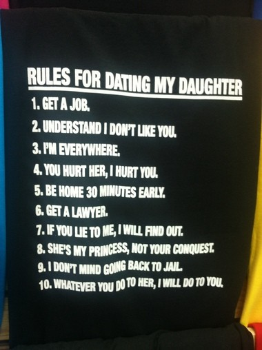 """There's a """"Rules for Dating My Son'' t-shirt, too."""